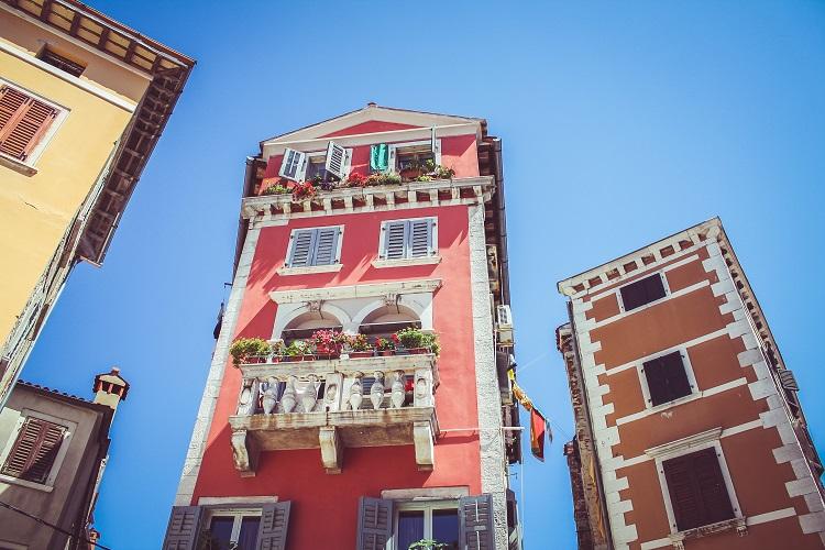 Quaint pastel buildings in Rovinj in Croatia