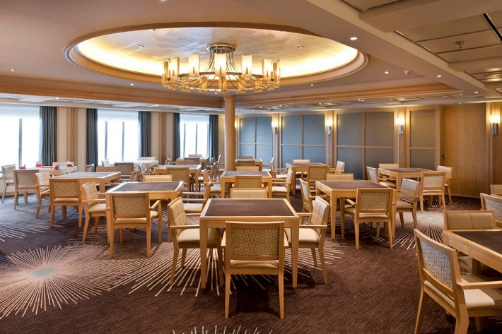 Bridge tables in the sophisticated Bridge Room on-board Crystal Symphony