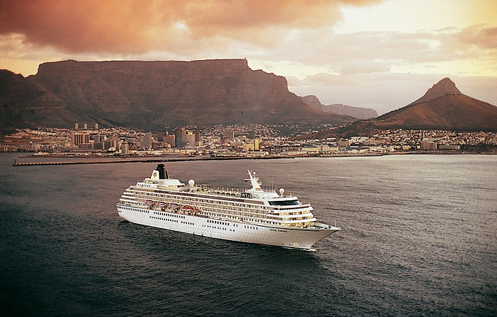 Crystal Symphony sailing away from Cape Town at sunset