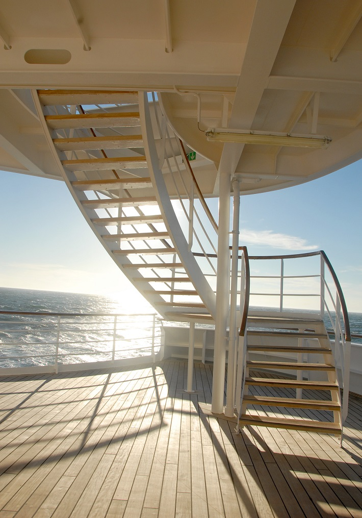A spiral staircase on the deck of Crystal Symphony