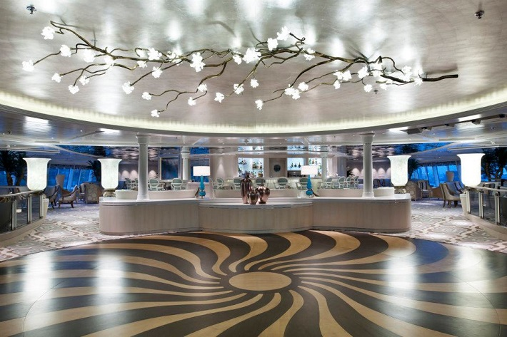 Th art deco dancefloor in the Palm Court on-board Crystal Symphony