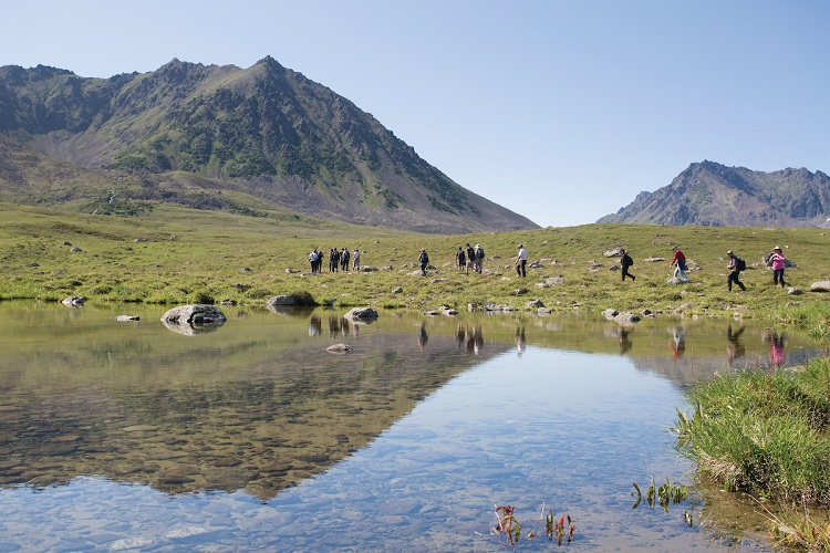 Expedition cruise guests touring the Russian landscape