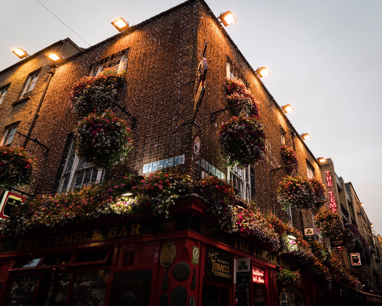 A pub in Dublin illuminated by Christmas lights
