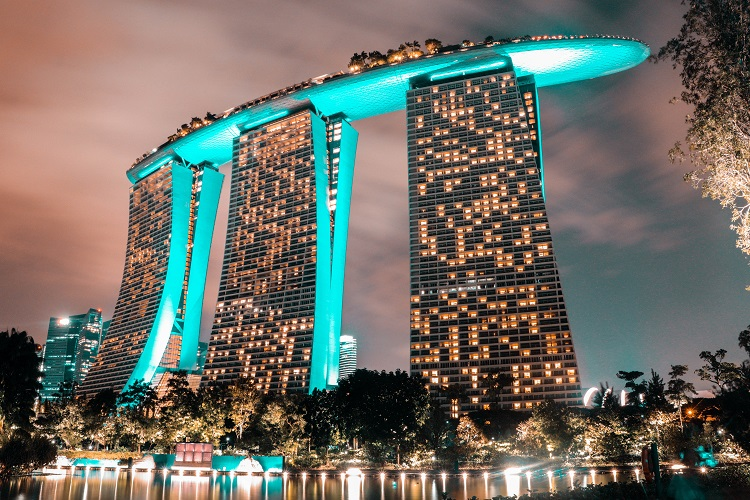 The Marina Bay Sands hotel lit up at night