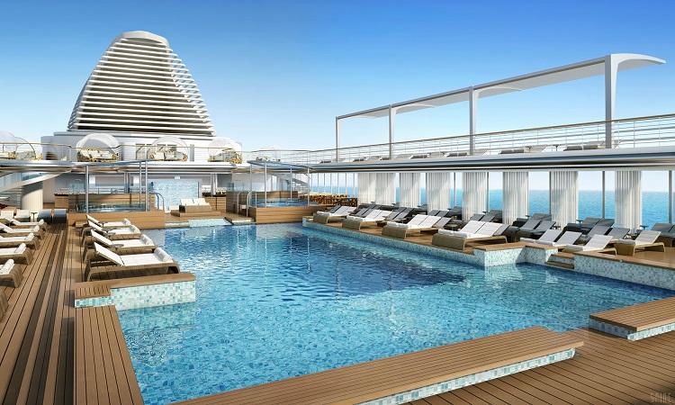 The main pool on-board Regent Seven Seas Explorer