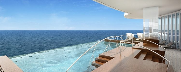 The infinity pool in the spa on-board Regent Seven Seas Explorer