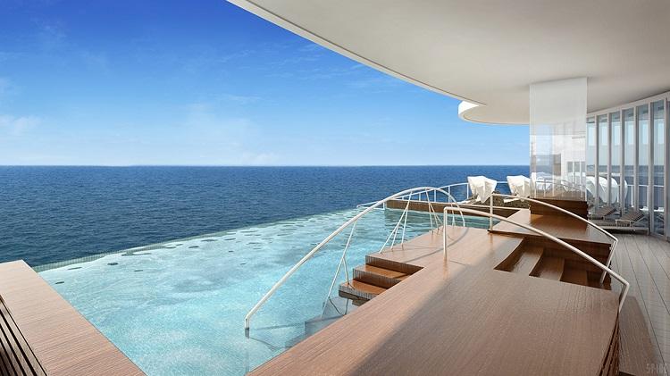 The infinity pool in the spa on-board Regent Seven Seas Explorer
