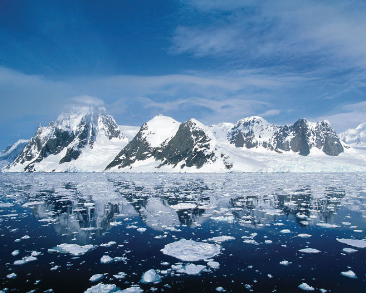 Mountain peaks and glaciers of Antarctica