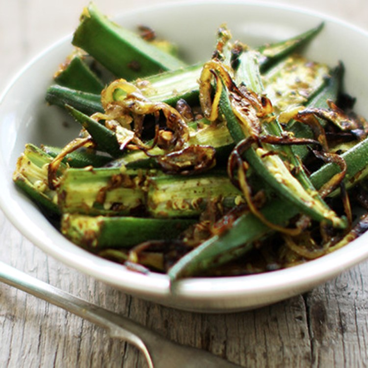 A bowl of authentic Indian bhindi amchoor