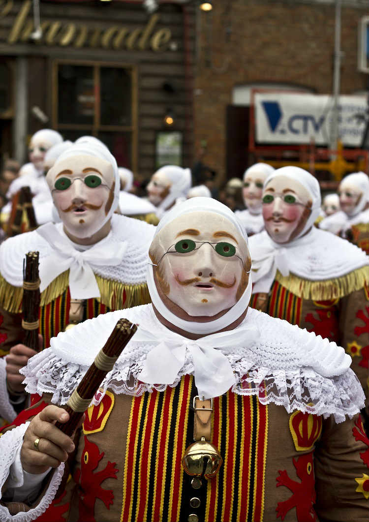 Members of the Binche Carnival parade - Gilles, a popular character seen throughout the streets