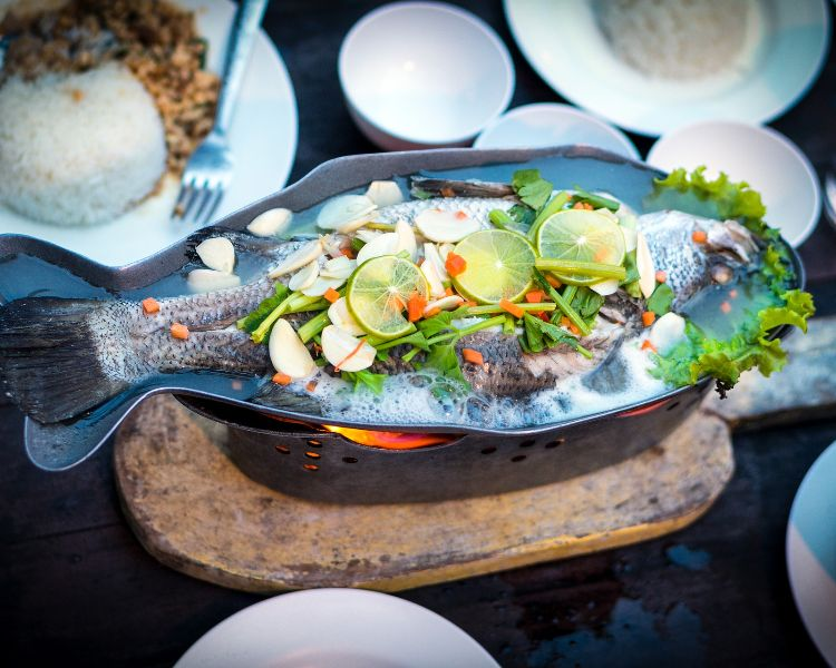 Fish served whole - a popular dish eaten on Chinese New Year