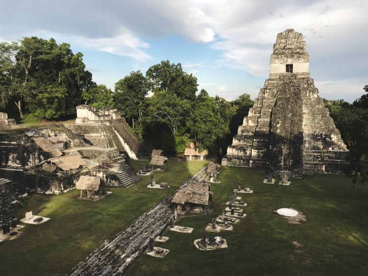 The ruins of an ancient temple complex in Guatemala