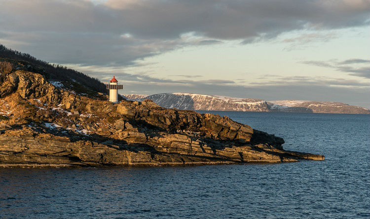 Lighthouse along the coastline in Northern Europe