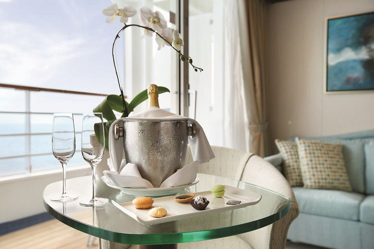 Champagne and macarons in a Penthouse Suite on-board Oceania Riviera
