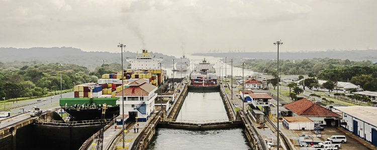 A portion of the Panama Canal in Central America