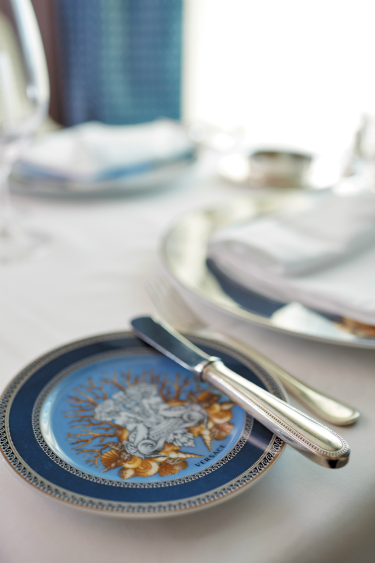 A Versace side plate in a restaurant on-board Seven Seas Voyager
