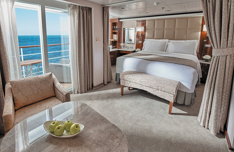 An elegant Penthouse Suite on-board Regent Seven Seas Voyager