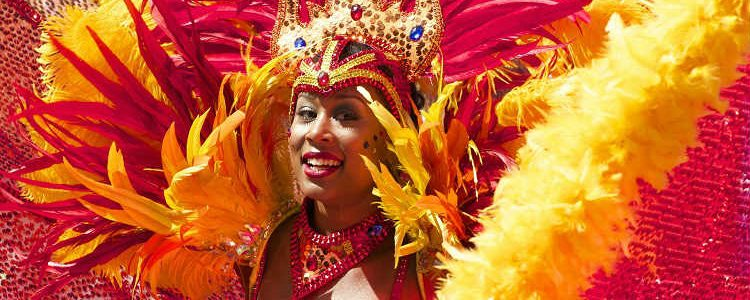 Brazilian dancer in a parade for the Rio Carnival