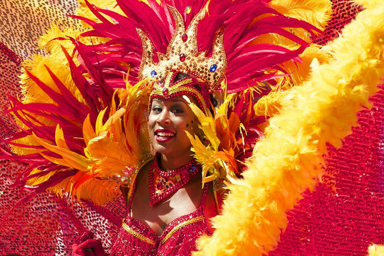 Brazilian dancer in a parade for the Rio Carnival