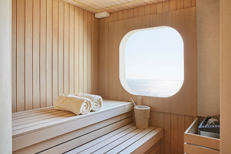 The Norwegian inspired, sea-view sauna on-board Silver Muse