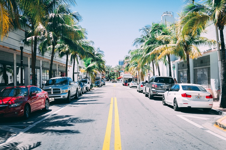 Cars, palm trees and shops lining a road in South Beach in Miami cruise port