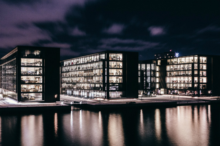 Contemporary glass architecture on the waterfront in Copenhagen