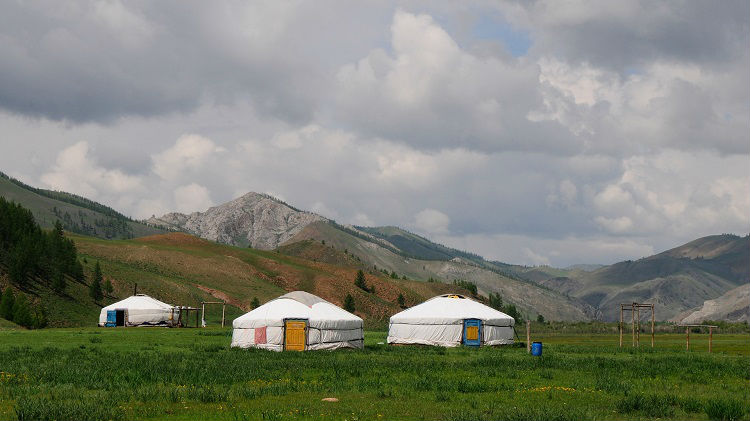 Nomad tents situated in Mongolia