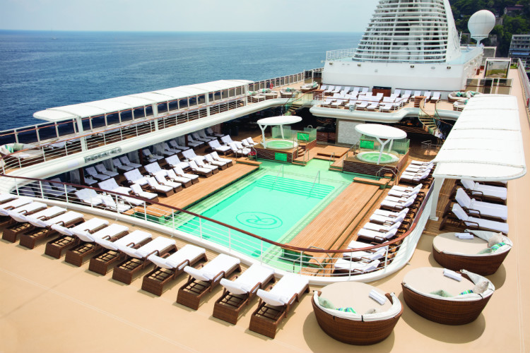 Sun loungers round the pool deck on-board Regent Seven Seas Mariner