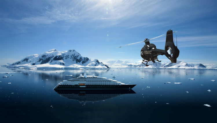 Helicopter coming into land on-board Scenic Eclipse in the Arctic