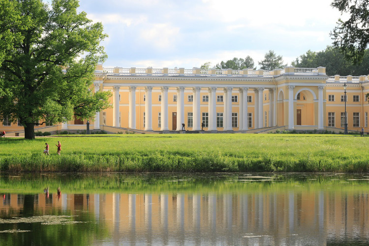 Alexander Palace seen from across a lake in St Petersburg