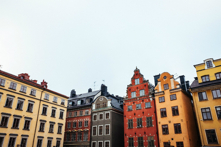 The roofs of colourful buildings in Stockholm