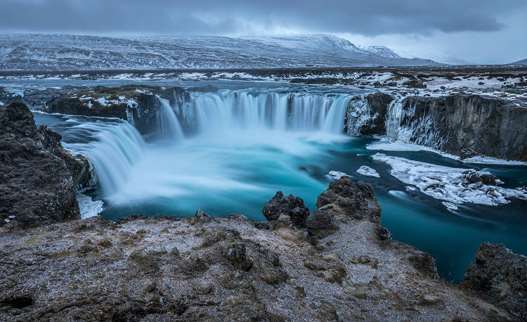 Picturesque waterfall in Reykyavik