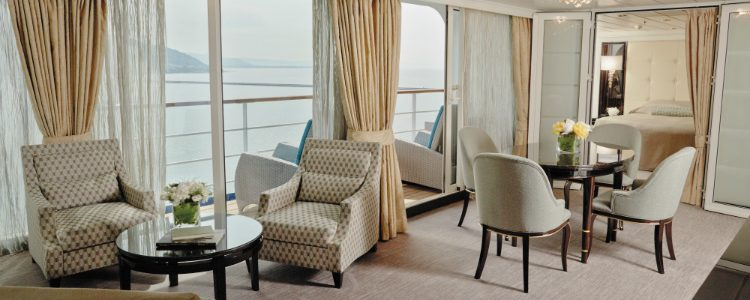 The living area of a Mariner Suite on-board Seven Seas Mariner