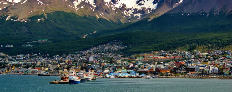 Colourful buildings in tiny Ushuaia cruise port in Argentina