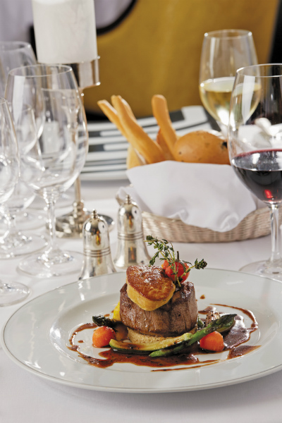 A beef and vegetable dish in the Signatures restaurant on-board Seven Seas Mariner