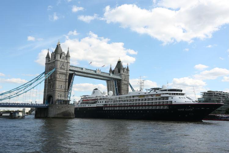 Silversea - Silver Cloud sailing under London Tower Bridge