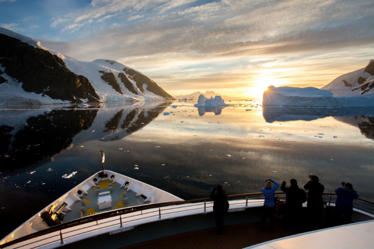 Silversea Expedition - Cruise ship deck at sunset