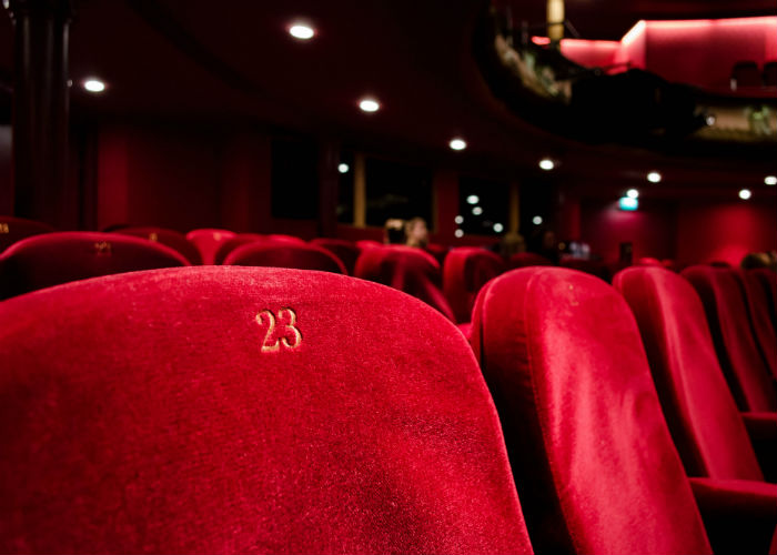 Red chairs in the theatre