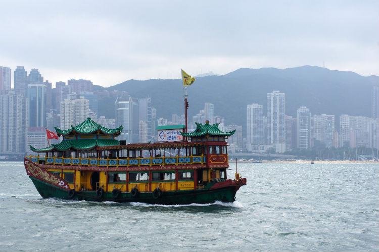 Boat in the sea in Hong Kong, China