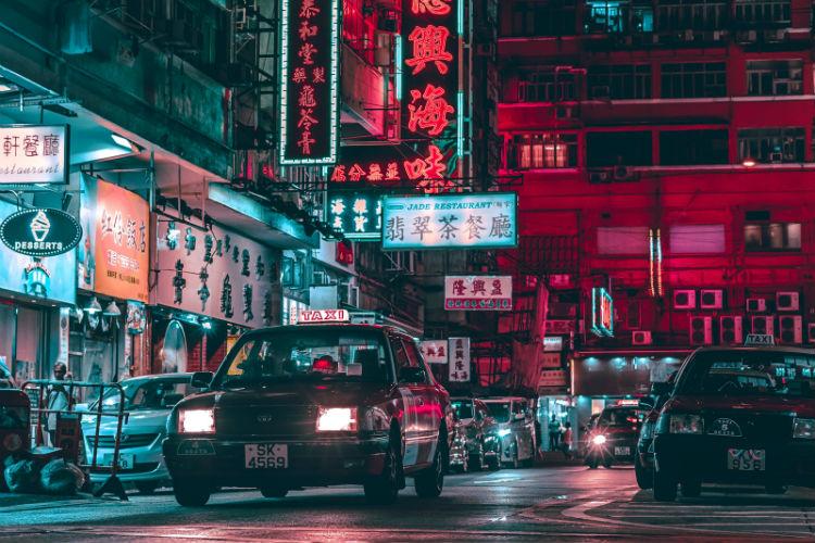 Neon lights in Hong Kong street - China