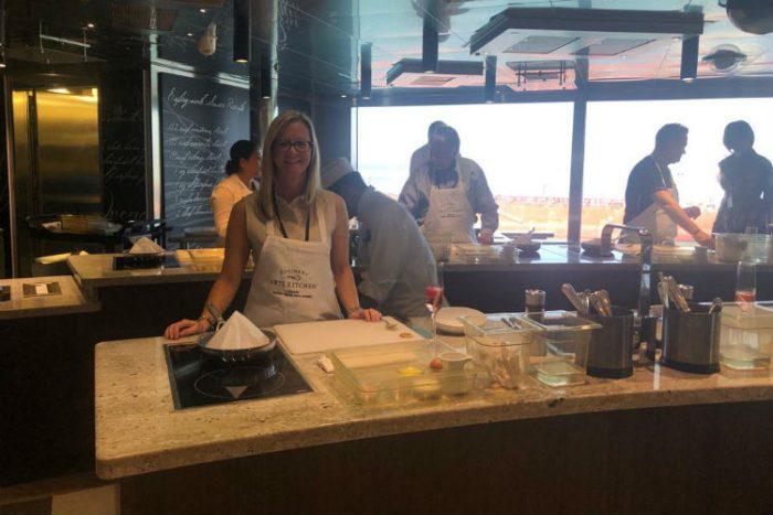 Alison Earnshaw on-board Regent Seven Seas - Culinary Arts Kitchen