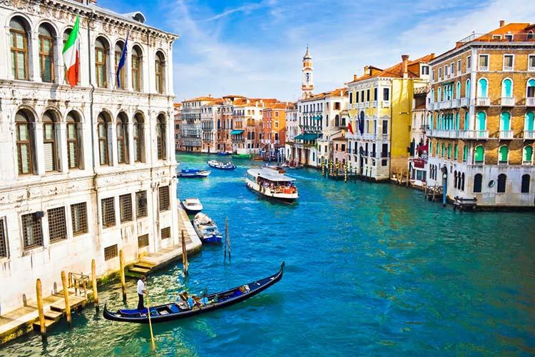 Venice, Italy - Gondolas sailing along the canals