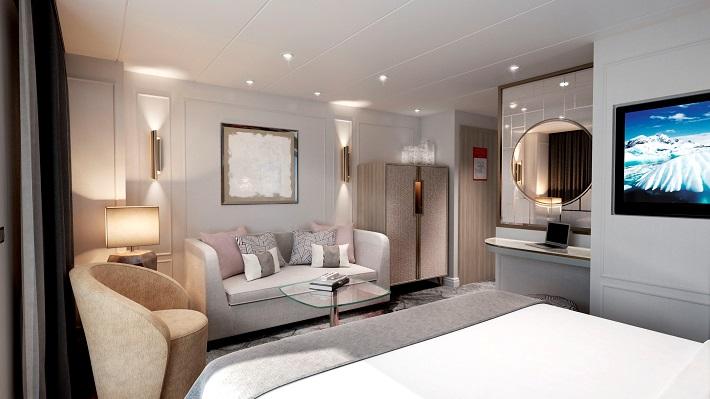 Elegant penthouse suite on Crystal Cruises luxury cruise ships