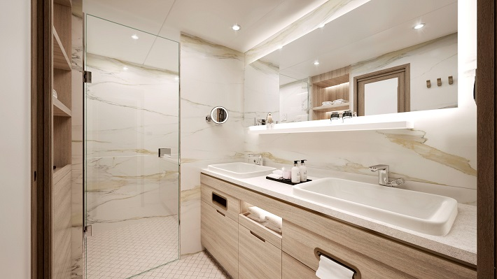 Redesigned marble and wood bathroom on Crystal Serenity and Symphony