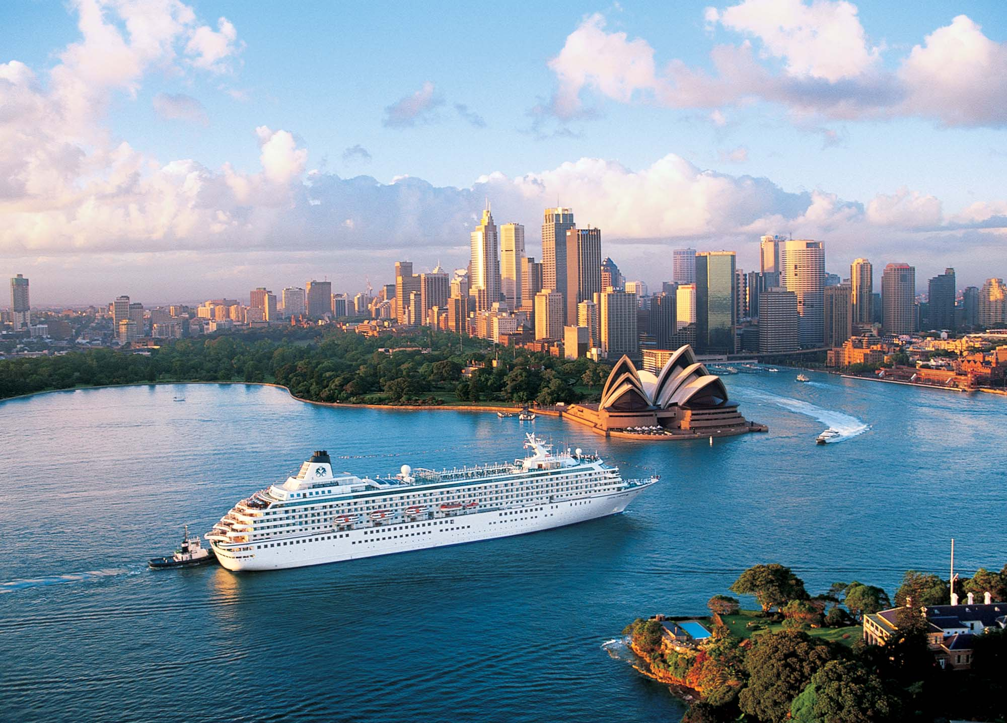 Crystal Symphony luxury cruise ship sailing into Sydney harbour