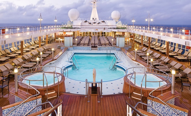 The pool deck on-board Regent Seven Seas Voyager at night