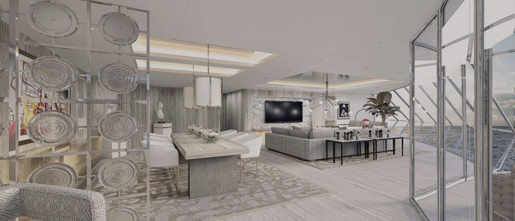 Luxurious suite on-board the Celebrity Edge cruise ship