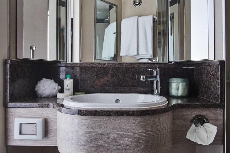 Bathroom sink in a refurbished suite on-board Silver Explorer