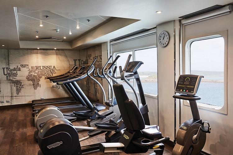 Sea-view treadmills in the refurbished gym on-board Silver Explorer