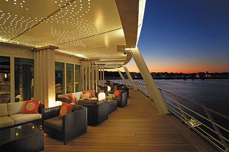 Seating on the deck of Regent Seven Seas Mariner at night